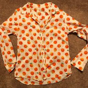 J Crew Citrus Orange Blouse